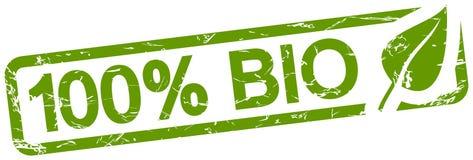 sello verde con el texto el 100% BIO stock de ilustración