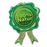 Sello verde el 100% natural Imagen de archivo