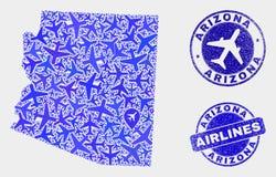 Sellos aéreos del mapa y del Grunge del estado de Arizona del vector del collage stock de ilustración