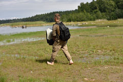 Sellos anillados lanzados zoologistas de Ladoga después de la rehabilitación Foto de archivo