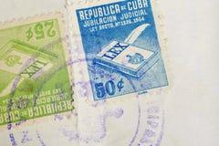 Sellos antiguos del cubano con los matasellos Filatelia histórica del vintage foto de archivo libre de regalías