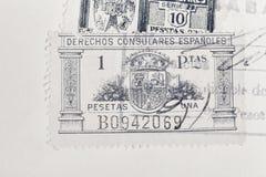 Sellos antiguos del español con los matasellos Philatel histórico del vintage imagen de archivo libre de regalías