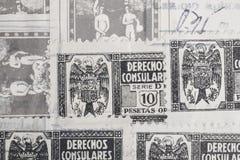 Sellos antiguos del español con los matasellos Philatel histórico del vintage fotos de archivo libres de regalías