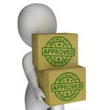 Sellos aprobados control de calidad que muestran productos excelentes Foto de archivo libre de regalías