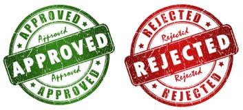 Sellos aprobados y rechazados ilustración del vector