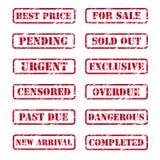 Sellos de goma de Grunge Fotos de archivo