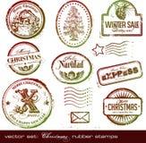Sellos de goma de la Navidad Fotos de archivo