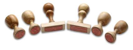 Sellos de goma de madera Foto de archivo