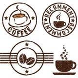 Sellos de goma del café Imagen de archivo libre de regalías