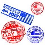 Sellos de goma del Día de la Independencia Imágenes de archivo libres de regalías