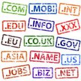 Sellos de goma del Domain Name Imagen de archivo libre de regalías