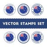 Sellos de goma neozelandeses de la bandera fijados Imagen de archivo libre de regalías