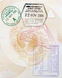 Sellos de la aduana en pasaporte Imagen de archivo libre de regalías