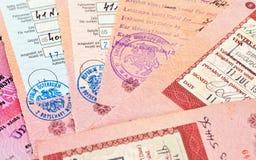 Sellos de la entrada y de la salida de la visa Foto de archivo libre de regalías