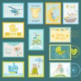 Sellos de la fiesta de bienvenida al bebé Imagen de archivo libre de regalías