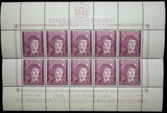 Sellos 1943 de la hoja de Copernicus de general gobierno Fotos de archivo libres de regalías