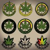 Sellos de la hoja del cáñamo del ganja de la marijuana Imagen de archivo