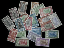 1929 sellos de la India del francés Imágenes de archivo libres de regalías