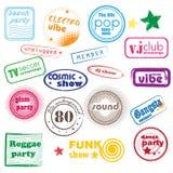 Sellos de la música del club Imagen de archivo libre de regalías