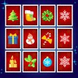 Sellos de la Navidad del vector Foto de archivo libre de regalías
