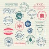 Sellos de la Navidad fijados Imagenes de archivo