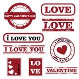 Sellos de la tarjeta del día de San Valentín Foto de archivo