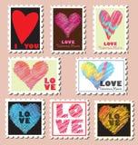 Sellos de los posts del día de tarjeta del día de San Valentín Foto de archivo libre de regalías