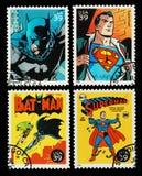 Sellos de los super héroes del Batman y del supermán de los E.E.U.U. Fotografía de archivo