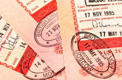 Sellos de visa británicos en pasaporte Fotografía de archivo