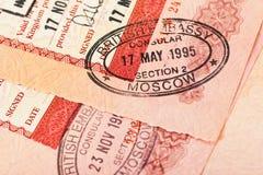 Sellos de visa británicos en pasaporte Fotos de archivo