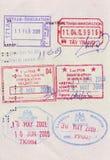Sellos de visa del recorrido en pasaporte Fotografía de archivo libre de regalías