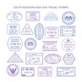 Sellos de visa del sudeste del viaje de Asia del vector fijados stock de ilustración