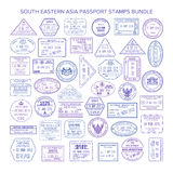 Sellos de visa del sudeste del viaje de Asia del vector fijados ilustración del vector