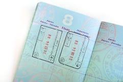 Sellos de visa en pasaporte americano Foto de archivo