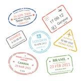 Sellos de visa internacionales del viaje de negocios fijados Imágenes de archivo libres de regalías