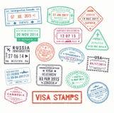 Sellos de visa o muestras del pasaporte de la inmigración Fotografía de archivo