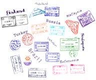 Sellos de visa verdaderos a partir de 9 países Fotografía de archivo