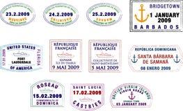 Sellos del Caribe y suramericanos del pasaporte Fotografía de archivo libre de regalías