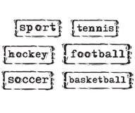 Sellos del concepto del deporte Imágenes de archivo libres de regalías