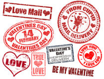 Sellos del día de tarjeta del día de San Valentín Imagen de archivo libre de regalías
