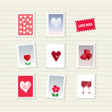 Sellos del día de tarjeta del día de San Valentín fijados Imágenes de archivo libres de regalías