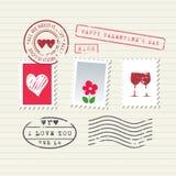 Sellos del día de tarjeta del día de San Valentín fijados Foto de archivo