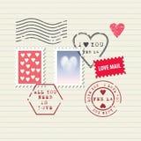 Sellos del día de tarjeta del día de San Valentín fijados Imagen de archivo