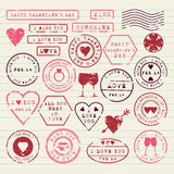 Sellos del día de tarjeta del día de San Valentín fijados Foto de archivo libre de regalías