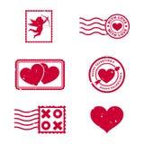 Sellos del día de tarjetas del día de San Valentín Foto de archivo libre de regalías
