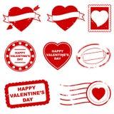 Sellos del día de tarjeta del día de San Valentín Fotografía de archivo