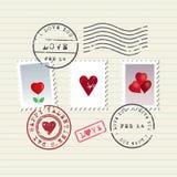 Sellos del día de tarjeta del día de San Valentín fijados Imagen de archivo libre de regalías