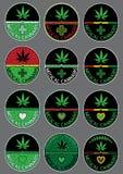 Sellos del diseño del símbolo de la hoja del verde de la marijuana del cáñamo Imagen de archivo