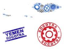 Sellos del mapa y del Grunge del archipiélago del Socotra del vector de la composición de los mecánicos stock de ilustración