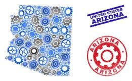 Sellos del mapa y del Grunge del estado de Arizona del vector del mosaico del servicio libre illustration